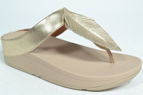 FITFLOP TM Muil/Slipper Goud dames (1.30.10.2.1 - FINO FEATHER TOE) - West-End