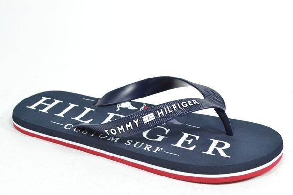 TOMMY HILFIGER Muil/Slipper Blauw heren (2.9.10.7.9 - NAUTICAL PRINT BEACH) - West-End
